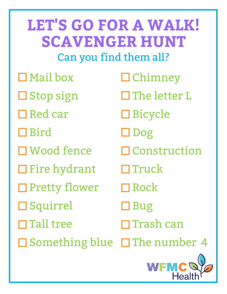 checklist for neighborhood scavenger hunt