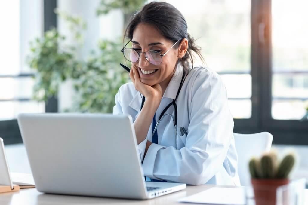 female doctor using telehealth