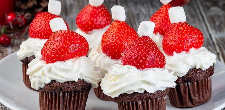 strawberry santa hat chocolate muffins