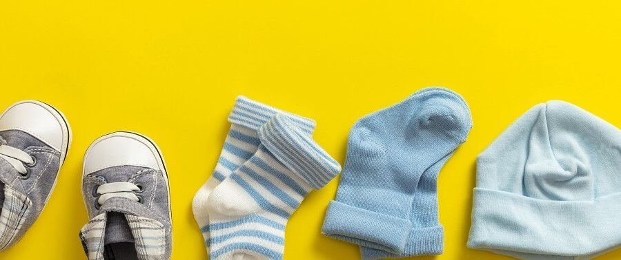 baby items on a yellow background