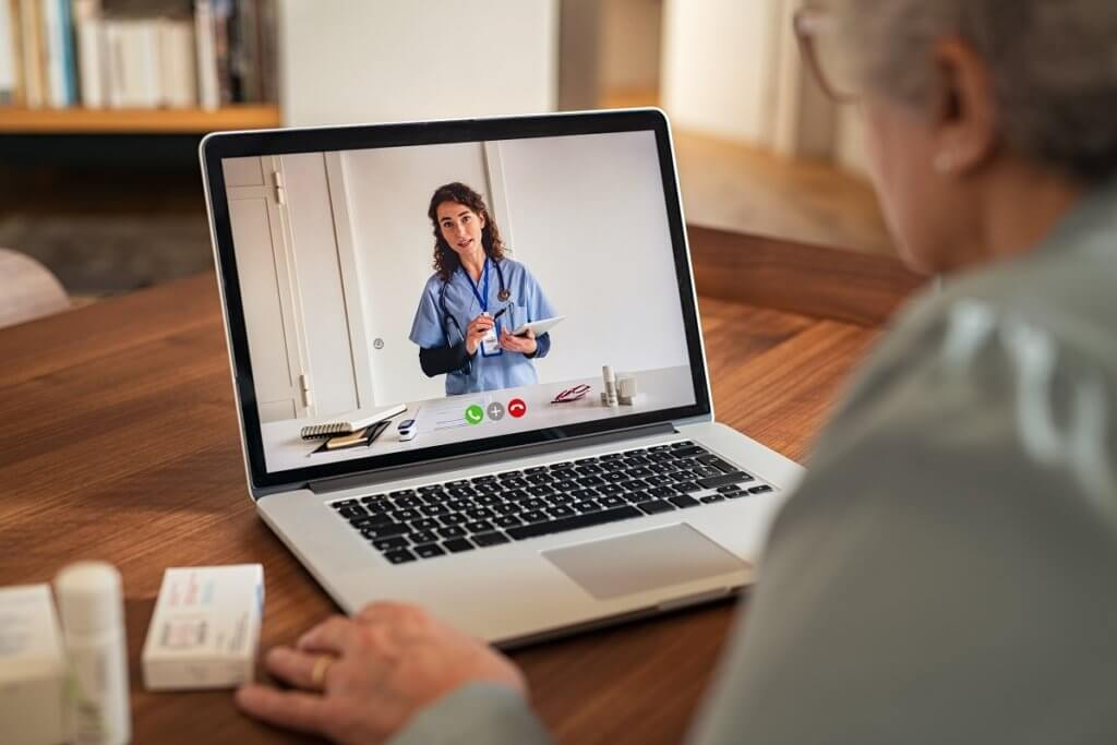 a doctor giving virtual care