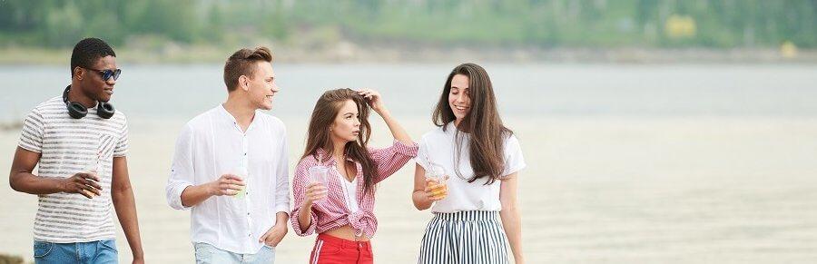 Teenagers on the beach
